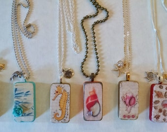 Beach Necklaces, Domino Necklaces, Altered Domino, Altered Art Domino, Ocean Art Jewelry, Recycled Domino, Upcycled Domino, Domino Jewelry
