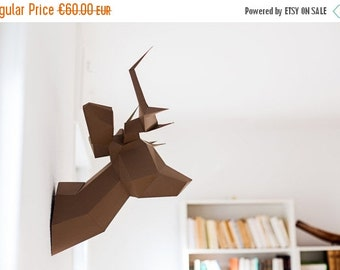 SOLDES/ON SALE Brown Foldeer - Deer Head Papertoy