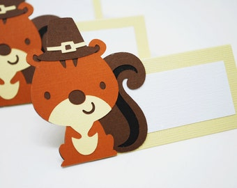 Pilgrim Squirrel Food Tags Place Holder Set of 12 By Your Little Cupcake