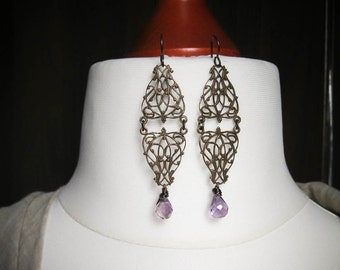 The Contessa Long Gothic Filigree Statement Earrings with Amethyst in Brass