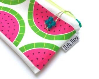 Stocking Stuffer, Watermelon Recycled Canvas Zipper Pouch, Pink Designer Bag + Glass Bead Tassel, Handmade Teacher Gift, Eco-Friendly Gift