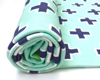 Blue Plus Organic Cotton Swaddle Blanket, Aqua Newborn Blanket + Hat, Swiss Cross Nursing Cover, Geometric Stroller Blanket, Baby Shower