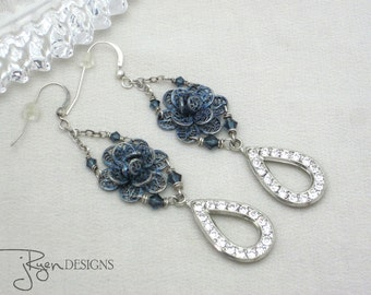 Vintage Assemblage Rhinestone Earrings Blue Flower Chandelier Earrings Clear Rhinestone Dangle Earrings One of a Kind OOAK Jryen Designs