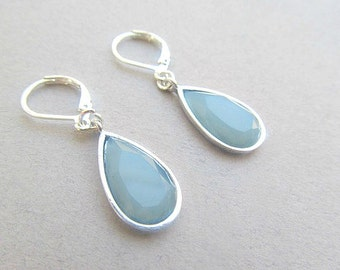 Blue Drop Dangle Earrings