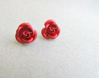 Red Rose Stud Earrings Red Queen  Alice in WOndERLand Style
