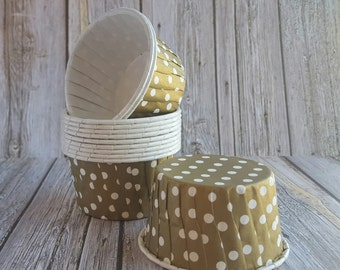 Gold Polka Dot  Candy Cups Nut cups Grease proof  Baking cupcake liners  muffin cups  Ice cream dessert portion cups - 24 count