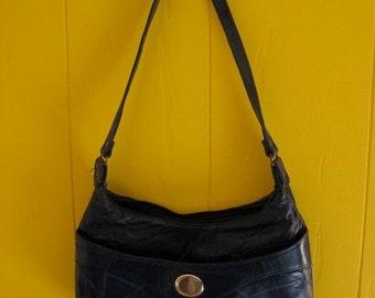 on sale Vintage Monogrammed Navy Patchwork Purse Letter M Shoulder Bag