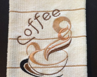 Coffee Cup Embroidered Kitchen Towel, Coffee Towel, Coffee Cup, Coffee Word, Coffee Swril, Coffee Kitchen, Modern Coffee