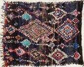 FREE SHIPPING WORLDWIDE L22211 vintage boucherouite rug, moroccan rugs , rag rug, berber tribal art, morocco carpets, wall art