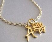 Gold Initial & Lotus Charm Bracelet