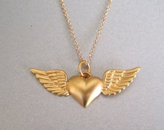 Heart & Wings Charm Necklace