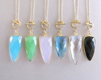 Gemstone Toggle Clasp Necklace - Toggle Clasp Necklace - Aqua Toggle Clasp Necklace