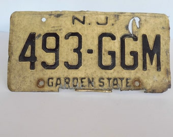 Vintage Weathered New Jersey License Plate, Garden State 1970s