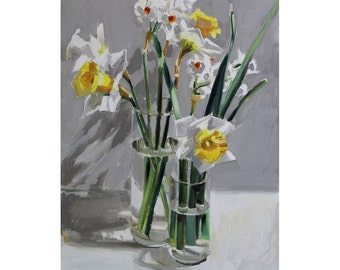 Daffodils Two Vases-Spring Bouquet -painting of white and yellow daffodils-art for springtime-art for mom