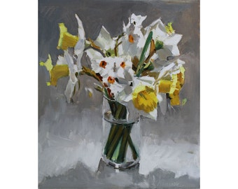 Daffodil Bouquet in Top Light - Flowers for Spring - Flowers for Mom - Jar of Daffodils - Mother's Day Gift