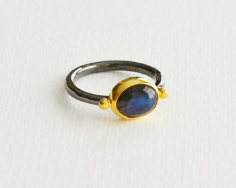 Labradorite Ring, Gemstone Ring, Solitaire Ring, Stackable Ring, One Of A Kind Ring