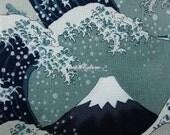 Snow on Mount Fuji, gray, 1/2 yard, silver metallic, pure cotton fabric