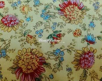 Sunflower, yellow, 1/2 yard, pure cotton fabric