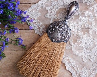 Antique Sterling Silver Whisk Broom, Art Nouveau Straw Brush,  R. Wallace and Sons Mfg.
