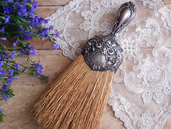 Antique Sterling Silver Whisk Broom Art Nouveau Straw Brush