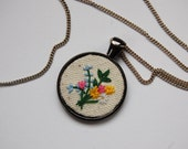 Hand stitched flower necklace, Embroidered Pendant, Colorful Necklace, Layered Jewelry, Floral Jewelry, Gift for best friend, gift for her