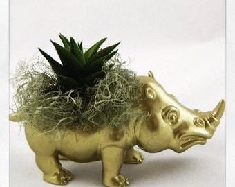 Succulent Planter Centerpiece - Gold Rhinoceros Animal Planter - Window Sill Decor