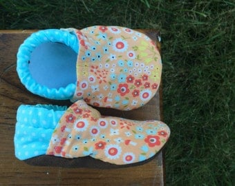 Baby Shoes for Girls -  Peach Floral/Mushroom Print with Blue Polka-dots - Custom Sizes 0-24 months 2T-4T