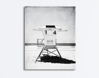 "Lifeguard Stand Canvas, Black and White Beach Photography, Grey California Coastal Wall Art, Gray San Diego Seaside Artwork, ""Lifeguard #14"""