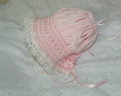 Smocked Bonnet - New Born Pink  with Pink Pearls