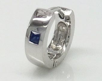 Men's hoop earrings, superfluity blue sapphire solid gold hoop earring, September birthstone blue sapphire earrings, solid gold earrings