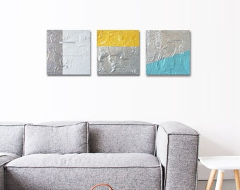 """Original abstract painting (x3) """"Mix"""" 7,8 in x 7,8 in. Minimalist art."""