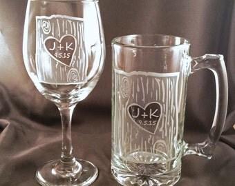 Custom Etched Wine Glass and Beer Mug Set - Bride and Groom Toasting Glasses - Wedding Gift - Custom Barware
