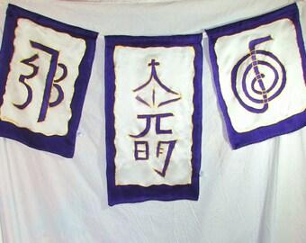 Reiki silk wall hangings flags, reiki symbols, reiki art, reiki wall hangings, reiki flags, spiritual art, silk art, reiki silk flags,