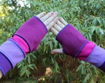 Fingerless Gloves Pinks, Purple and Lilac