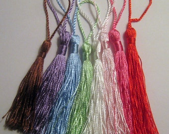 8 Mixed Color Silky Tassels 13.5mm