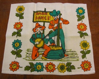 60s Dish Towel Barn Dance Kitchen White Linen Green Orange Yellow Print
