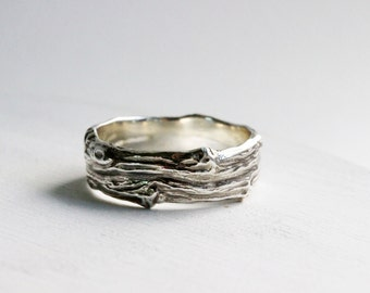 Mens Silver Branch Band Ring, Wide Mens Silver ring, Mens Wedding Ring, Mens Branch Ring-style 5