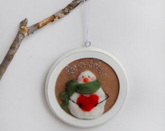 Whimsical Snowman - Felted Snowman - Christmas Ornament