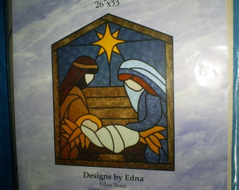 Stained Glass  Manger Scene 26 X 33 inches.