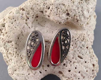 Vintage Silver and Red Post Earrings 7/8 Inches Long and 1/2 Inches Wide Previously 10 Dollars ON SALE