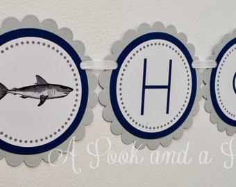 Blue and Gray Shark Themed Personalized Happy Birthday Banner