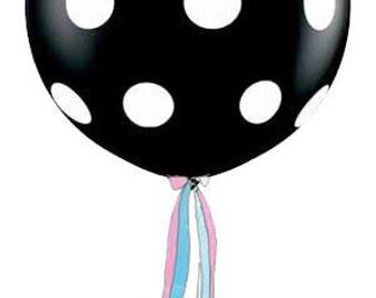Gender Reveal Boy or Girl 3 Foot Round Designer Balloon Onxy w/Premium Tassel
