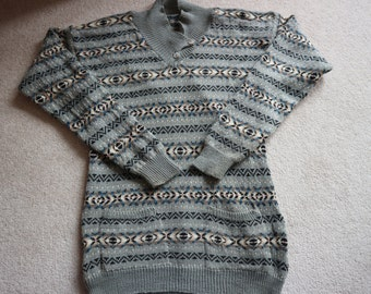 SALE Fine handknit tunic sweater fairisle in grey, blues,fawns and black M / L
