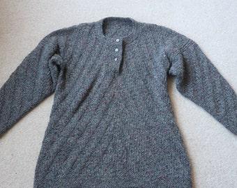 SALE 20% off Beautiful hand knitted flecked grey wool tunic M / L