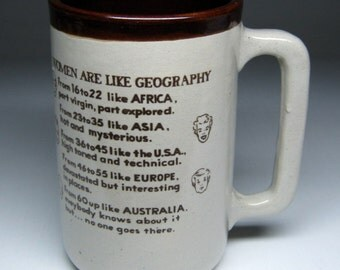 vintage MONMOUTH pottery mug , a tall one , Women Are Like Geography