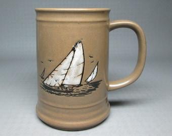Ship tankard mug / stein with seagulls , not marked but i think an OTAGIRI item
