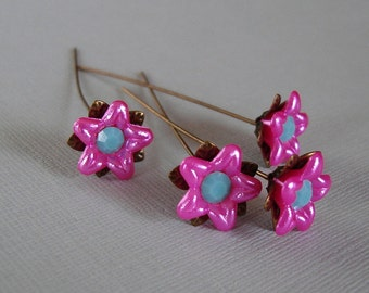 Hot Pink Flower  Headpins 2 Inch long - 4.
