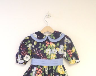 Vintage Girl's Clothes, 1970's Blue, Pink, Yellow and Green Floral Baby Girl Dress, Vintage Baby Dress, Vintage Toddler Dress,  Size 4T