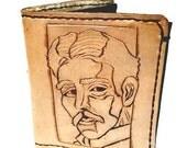 Nikola Tesla Wallet - Steampunk Accessory - Steampunk Clothing - Steampunk Gift - Steampunk Wallet, holds 8 cards and has 1 bill slot.