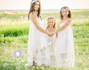 beach flower girl dress, junior bridesmaid dress, rustic flower girl, bohemian flower girl dress, country flower girl dress,white lace dress